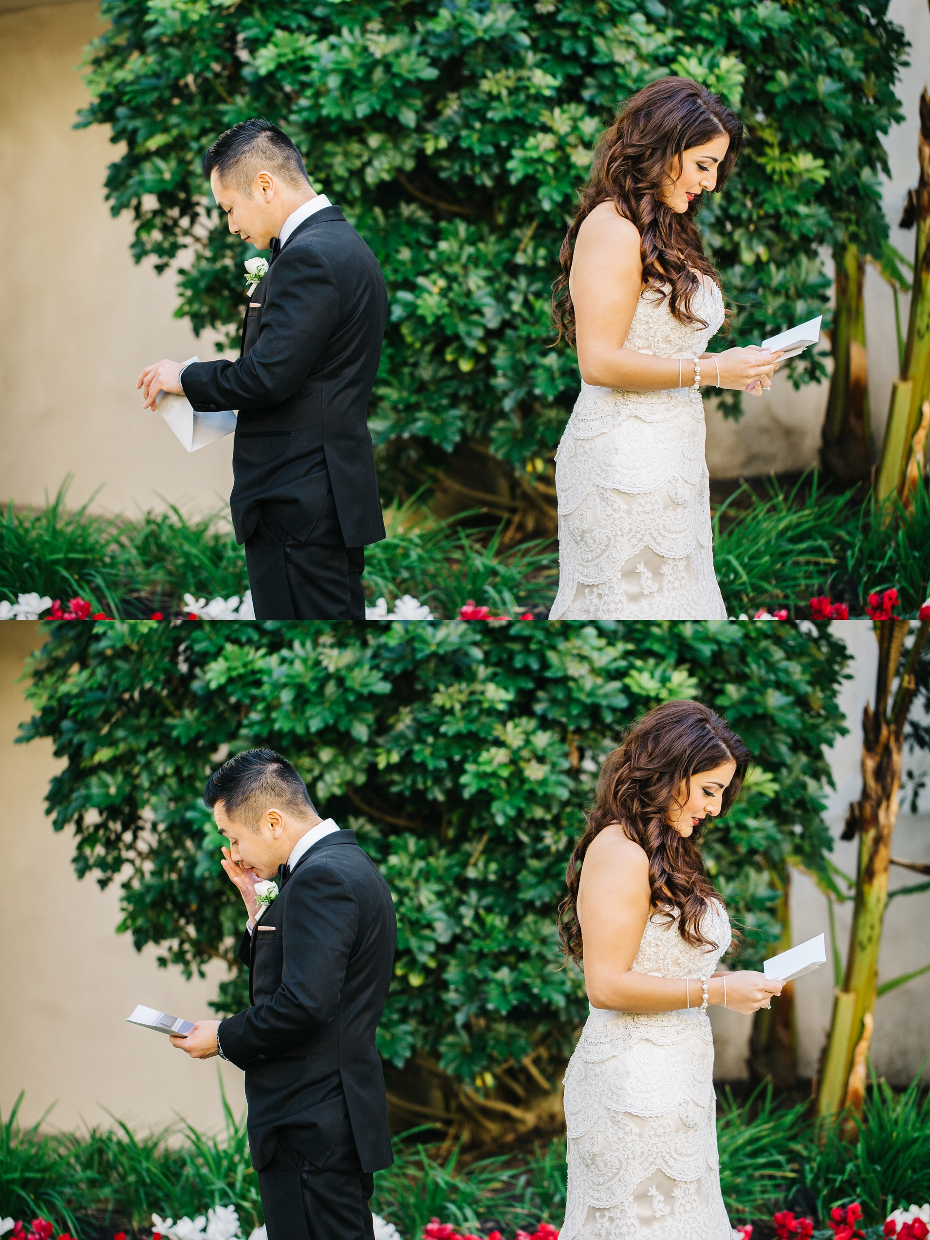 Bride and Groom First Look in Orange County