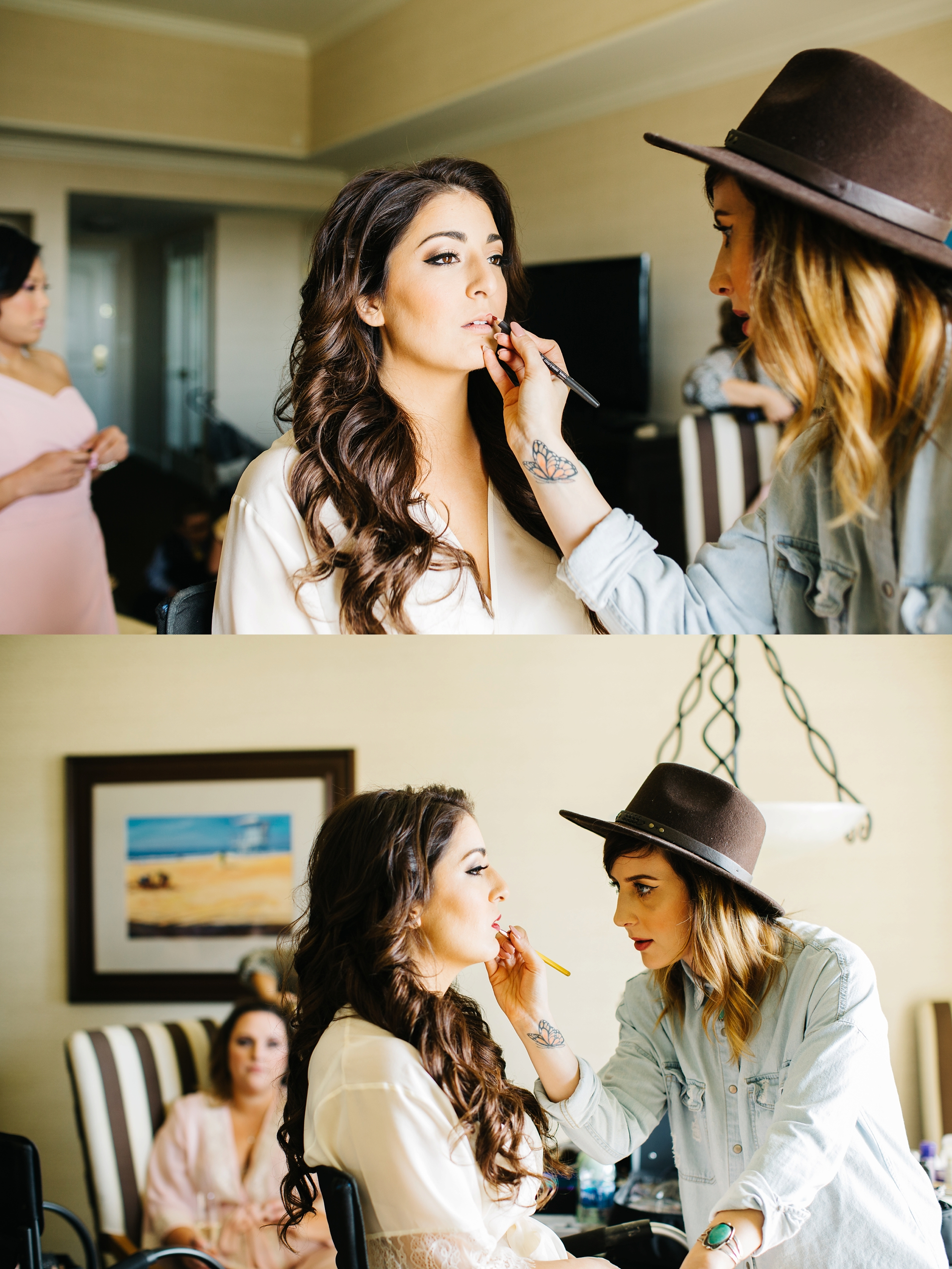 Bride getting makeup done - Brittney Hannon Photography