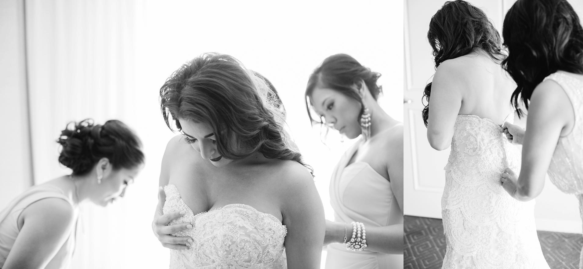 Bride getting into Wedding Dress - Brittney Hannon Photography