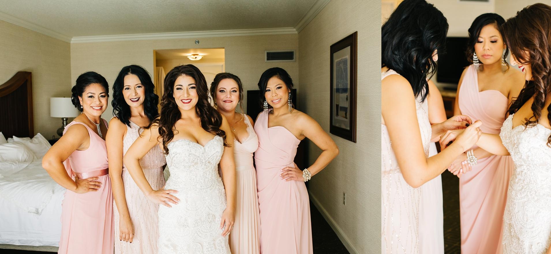 Bride and Bridesmaids in Huntington Beach, CA