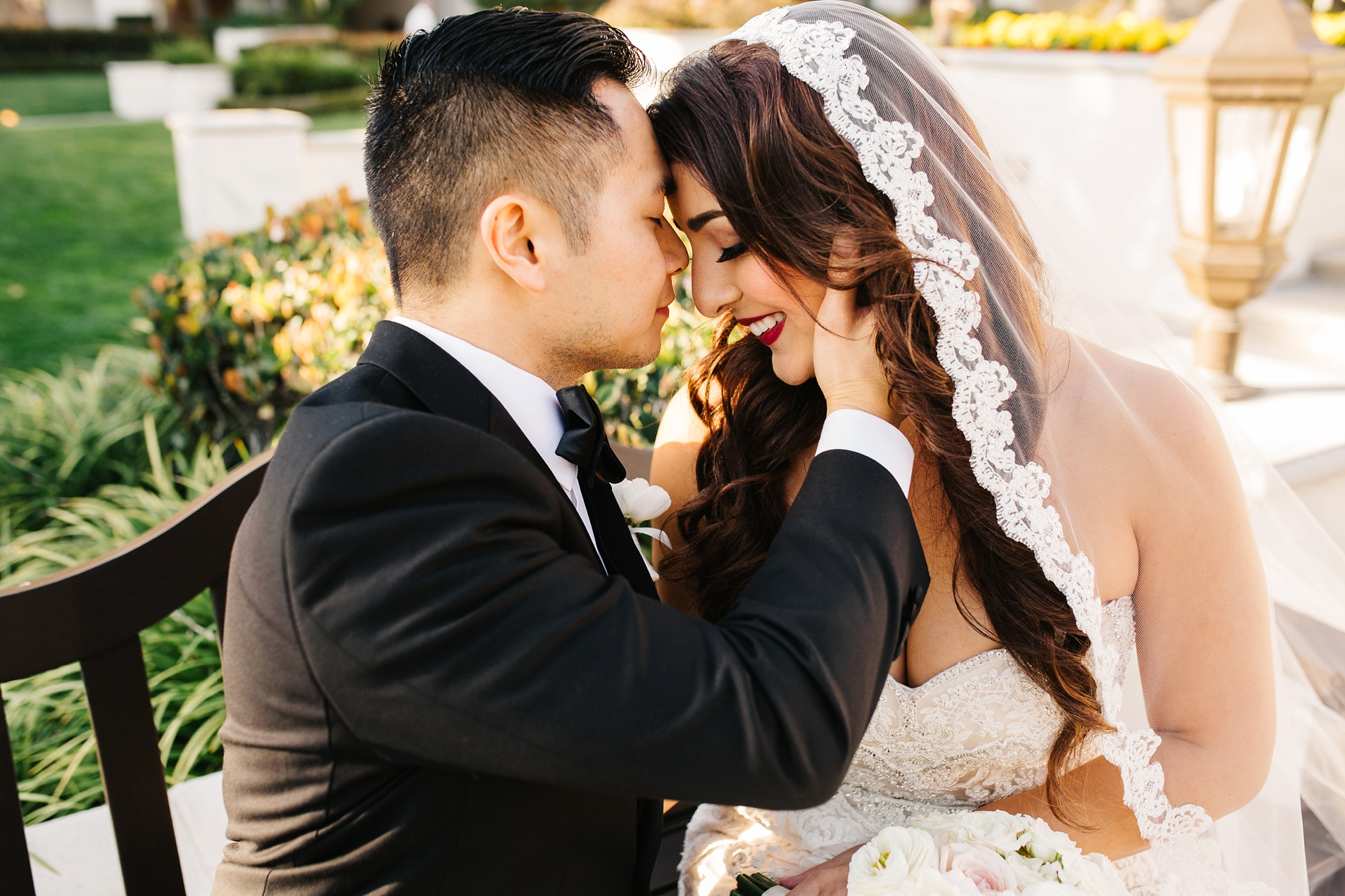 Sunset Bride and Groom Pictures-Romantic Bride and Groom Photos-Huntington Beach Wedding