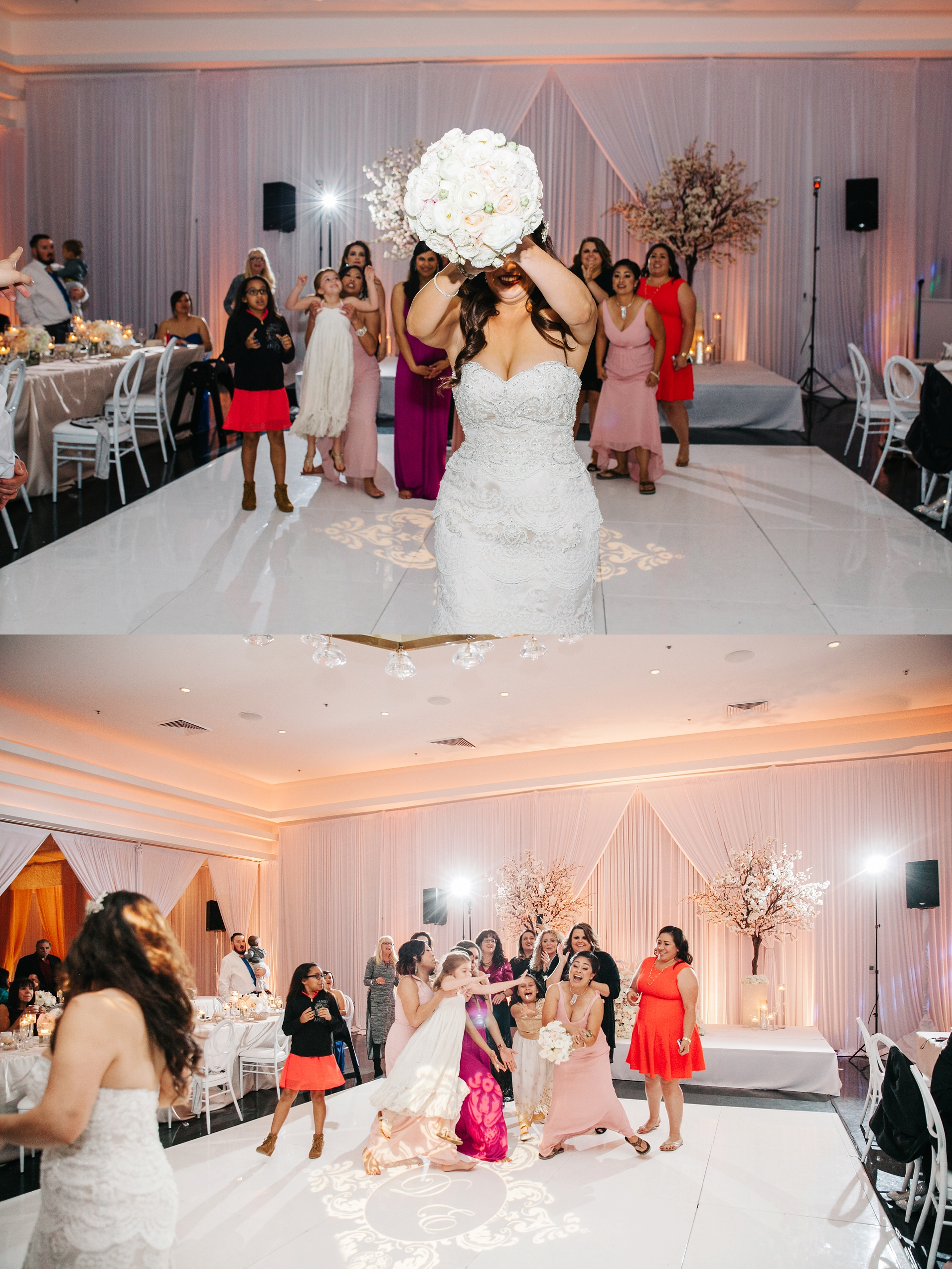 Bouquet Toss-Wedding Reception by Brittney Hannon Photography at Venue by Three Petals Wedding in Huntington Beach, CA