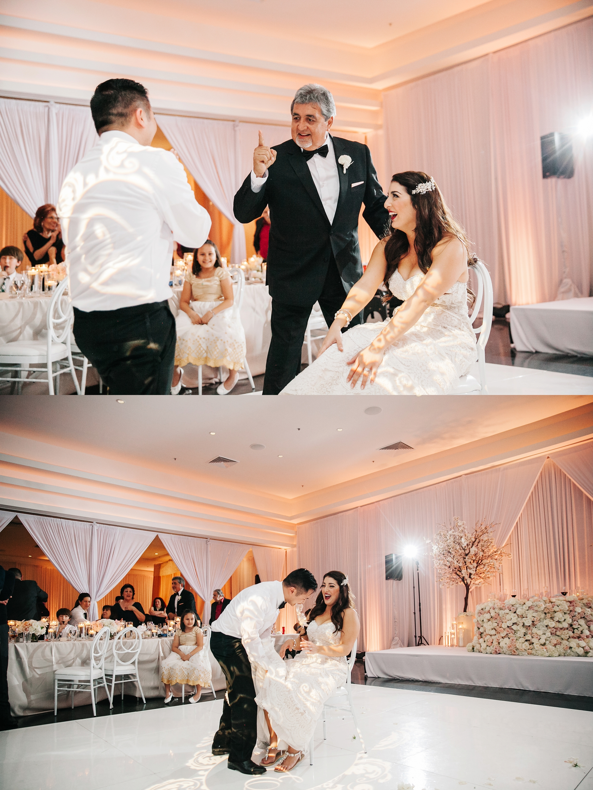 Garter Toss-Wedding Reception by Brittney Hannon Photography at Venue by Three Petals Wedding in Huntington Beach, CA