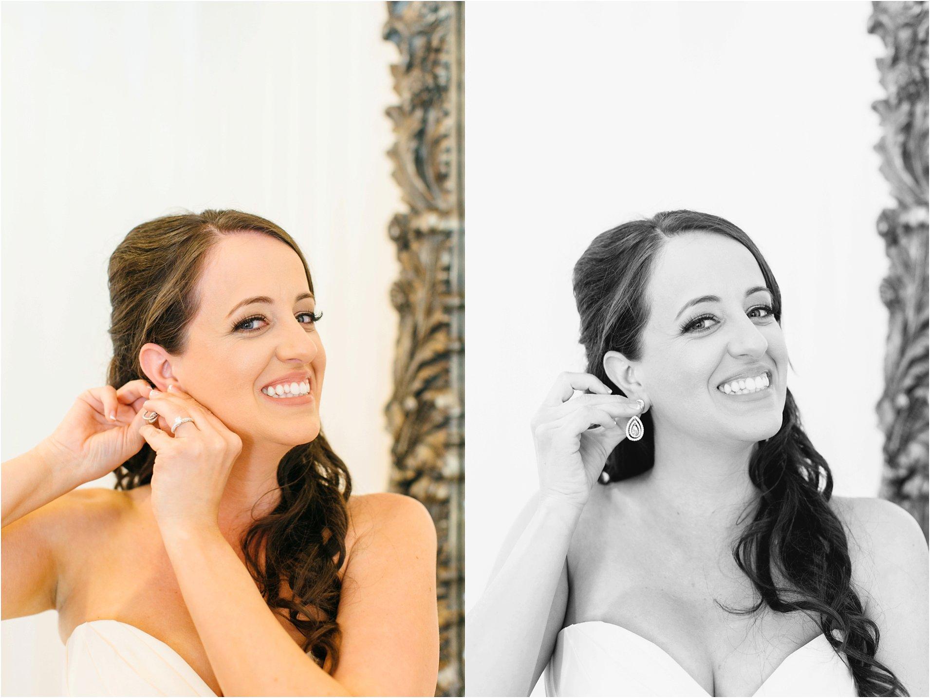 temecula bride putting on wedding jewelry