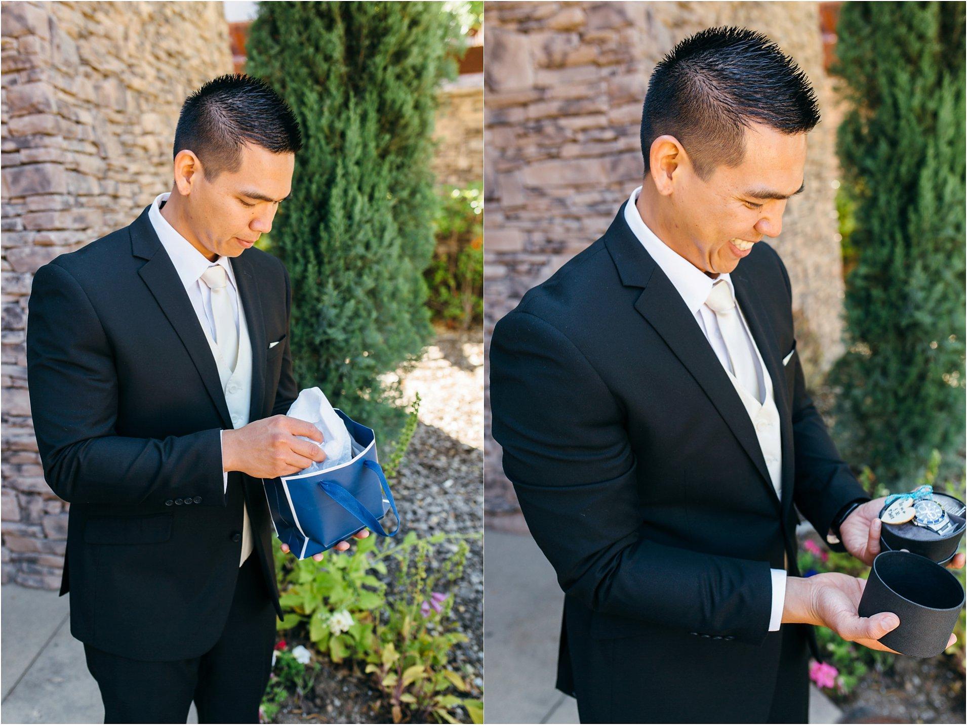 groom opening groom gift