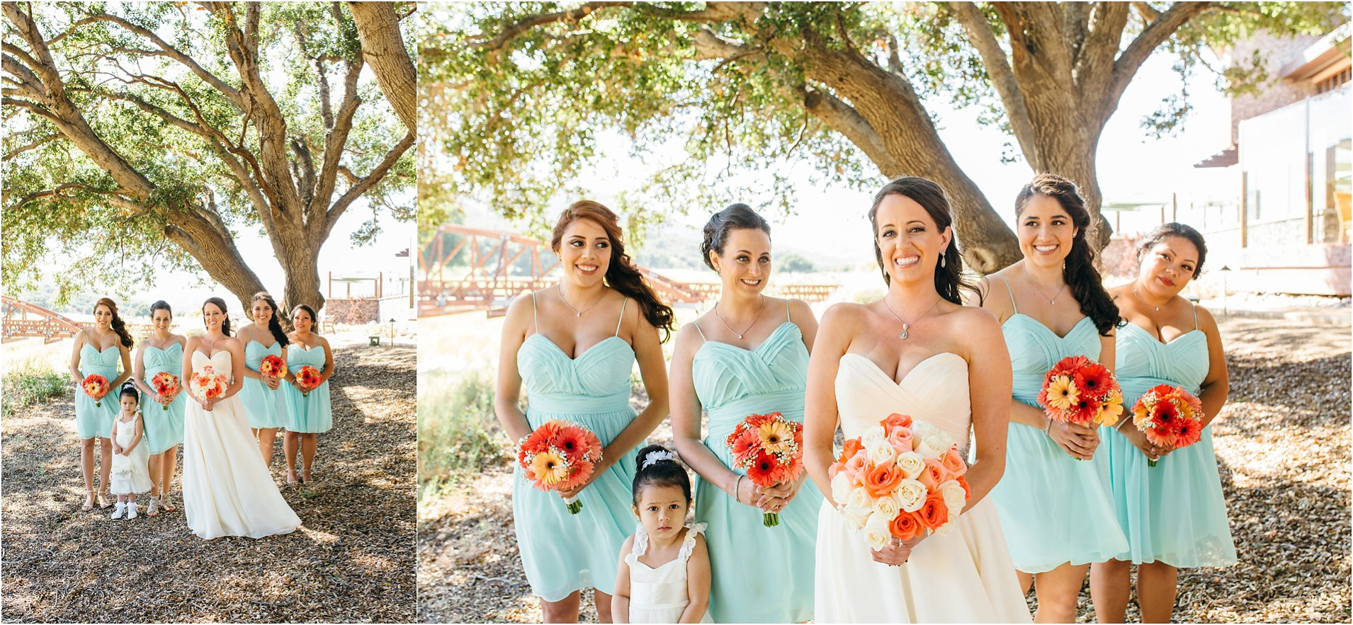 bride and bridesmaids photos in southern california