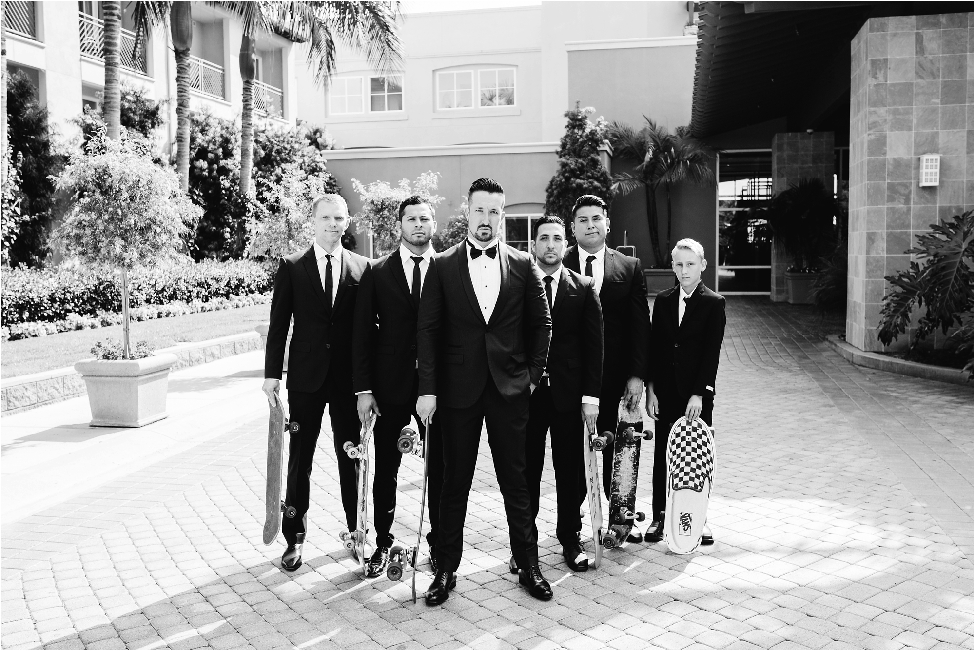 Skateboarding Groom and Groomsmen - https://brittneyhannonphotography.com