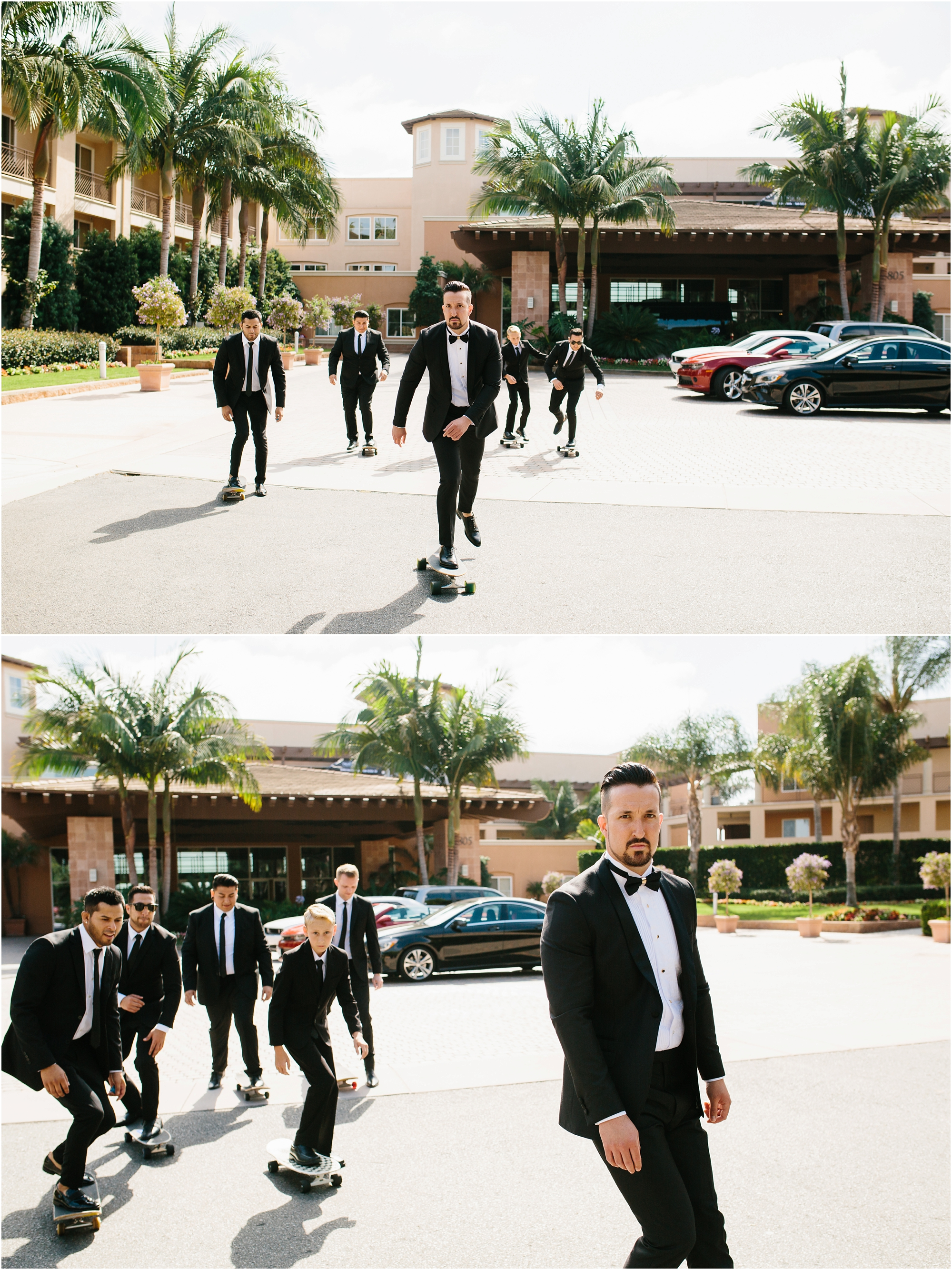 Groom and Groomsmen Skateboarding - https://brittneyhannonphotography.com