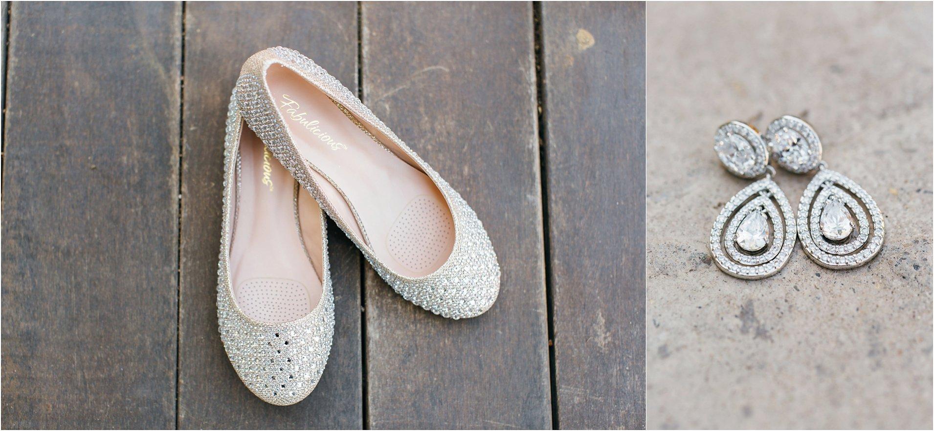 Bridal jewelry and wedding flats