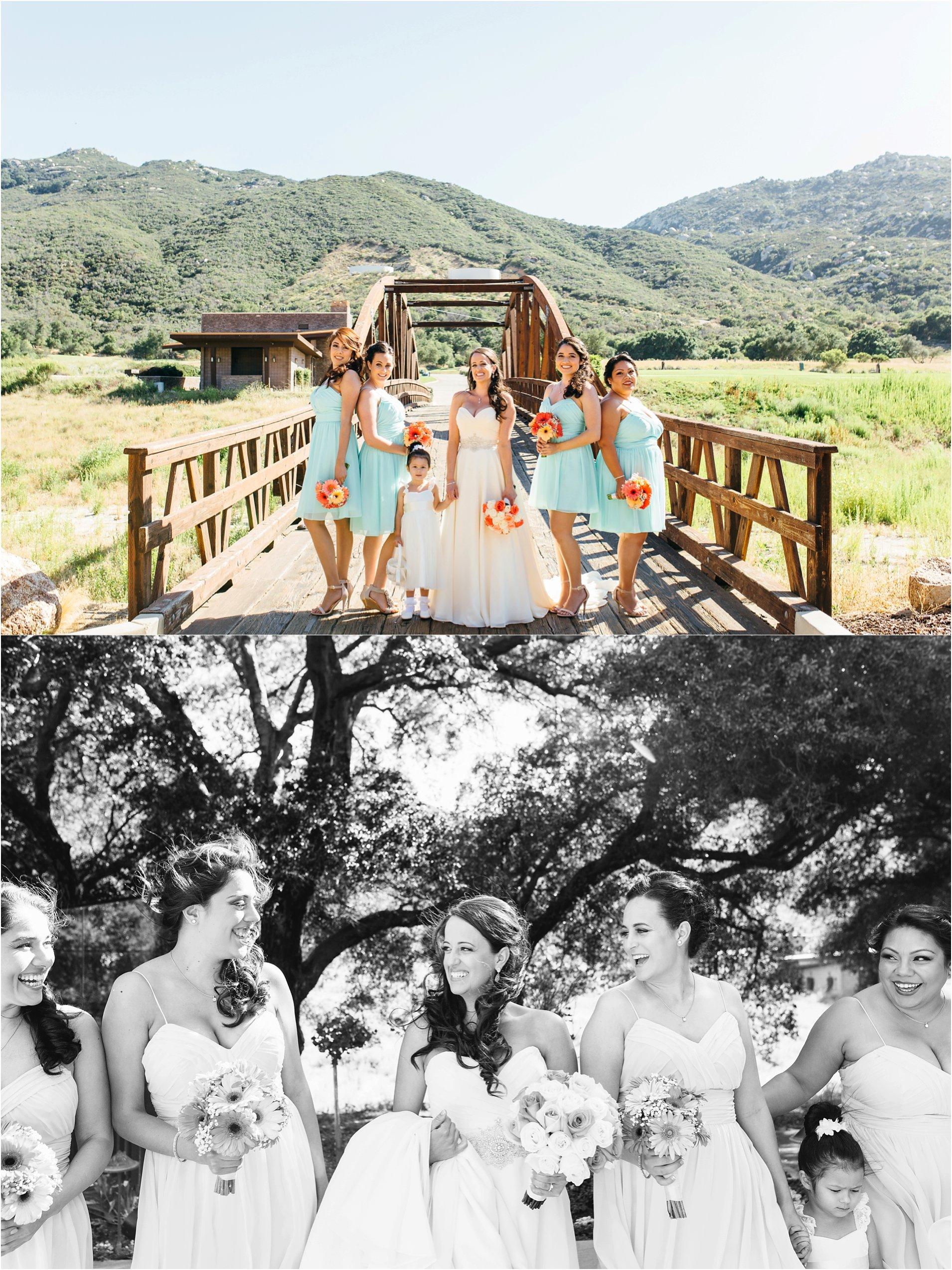 bride and bridesmaids photos at journey's end at pechanga casino