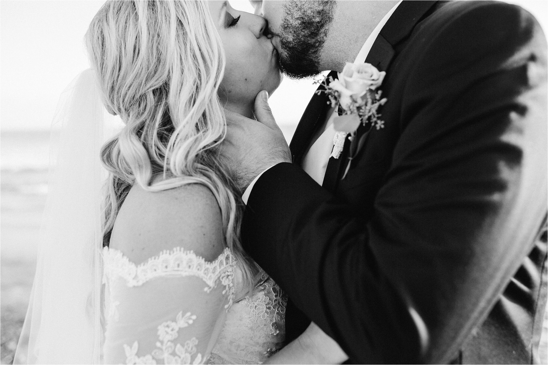 Black and White Romantic Bride and Groom Photo