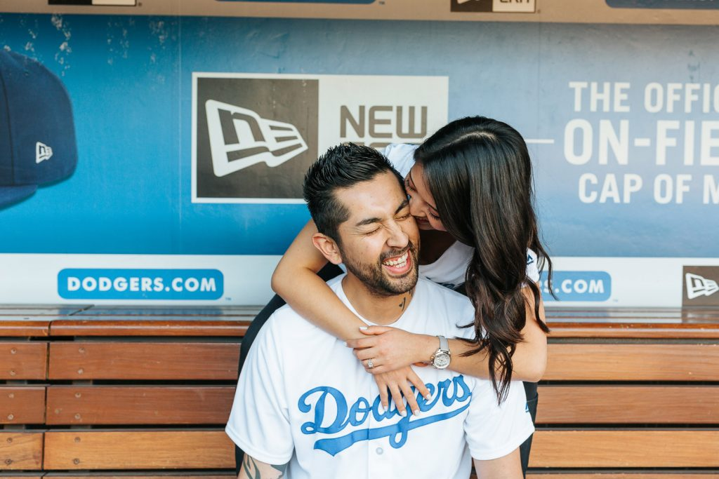 Tips on how to rock your engagement session - Dodger Stadium Engagement Photos - https://brittneyhannonphotography.com