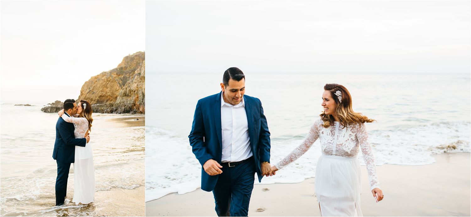 Fun engagement photos on the beach