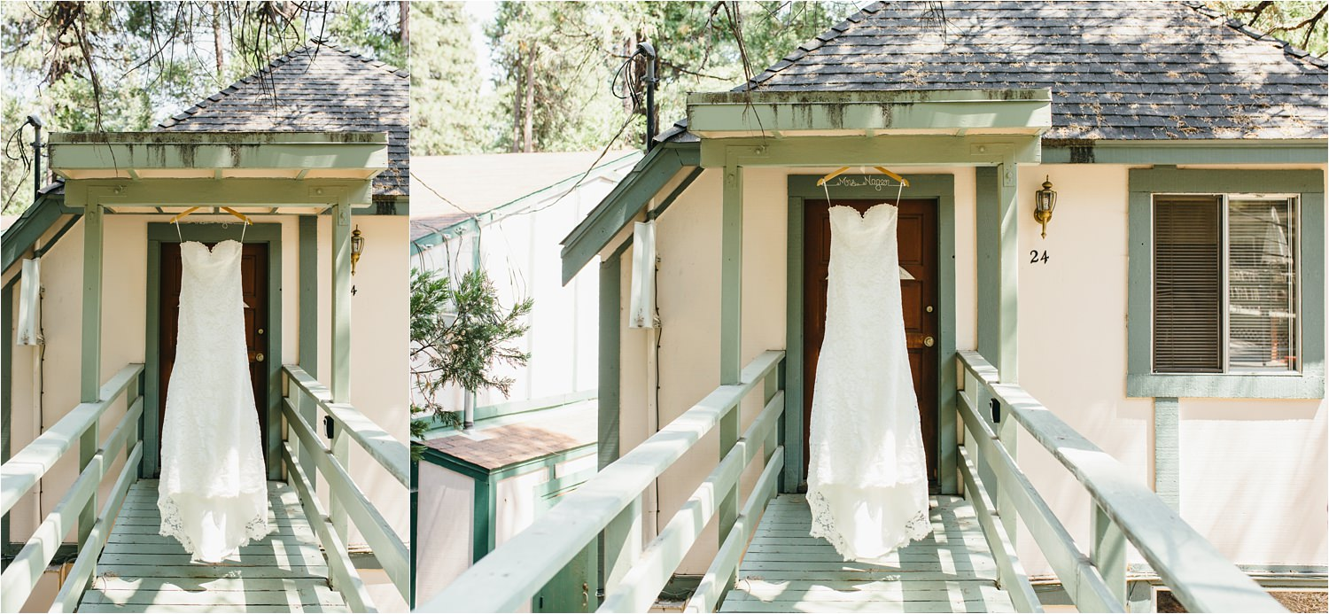 Wedding Dress in the Mountains - Cabin Wedding - https://brittneyhannonphotography.com