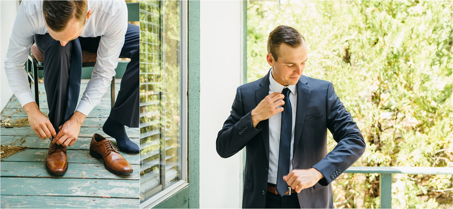 Groom Getting Ready Photos - Lake Arrowhead Wedding - https://brittneyhannonphotography.com