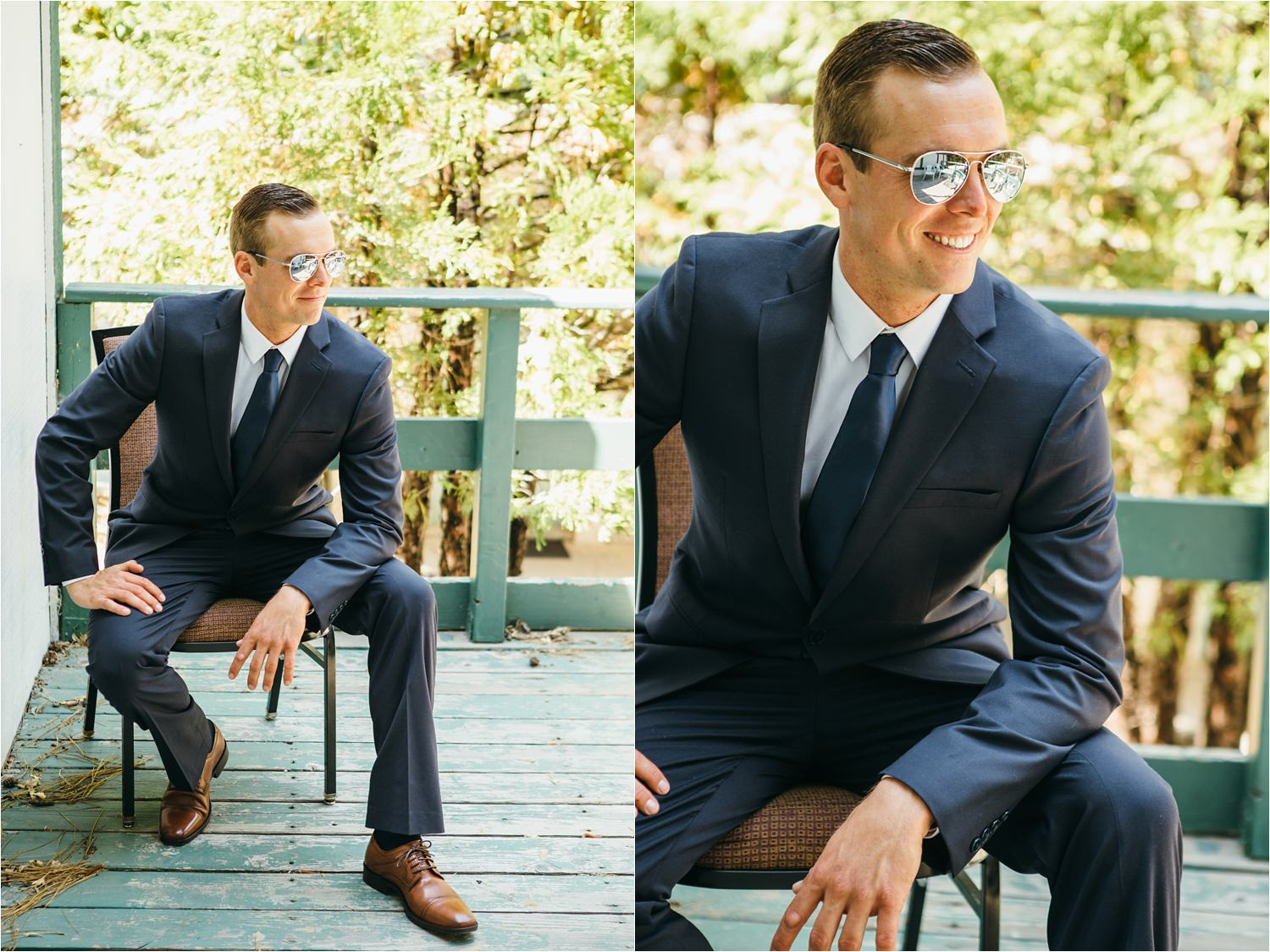 Groom in Sunglasses - Summer Camp Themed Mountain Wedding in Lake Arrowhead - https://brittneyhannonphotography.com