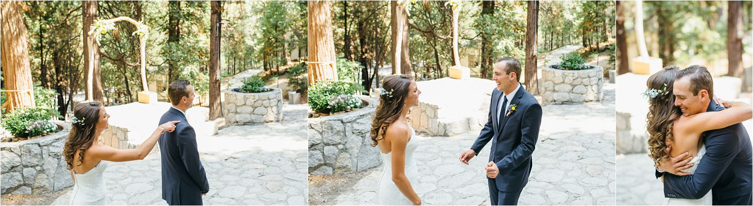 Bride & Groom First Look in the Mountains - Lake Arrowhead Mountain Wedding - https://brittneyhannonphotography.com