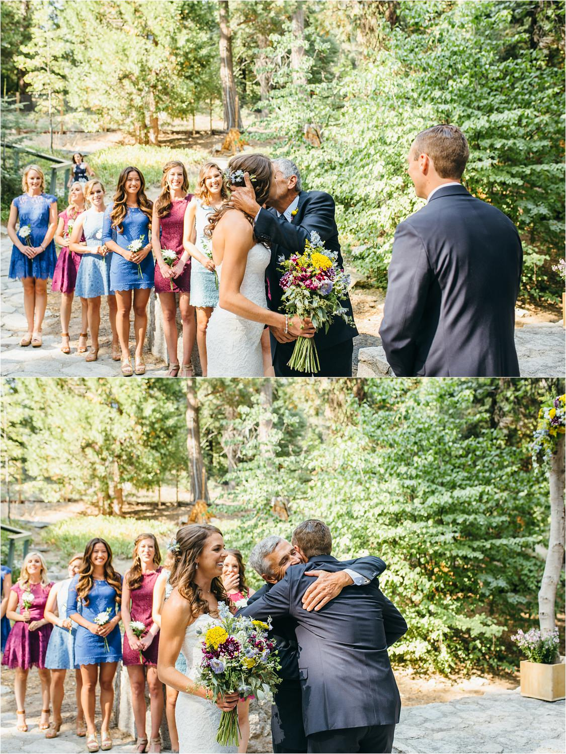Dad giving his daughter away - Heartfelt Wedding Ceremony - Mountainside Wedding - https://brittneyhannonphotography.com