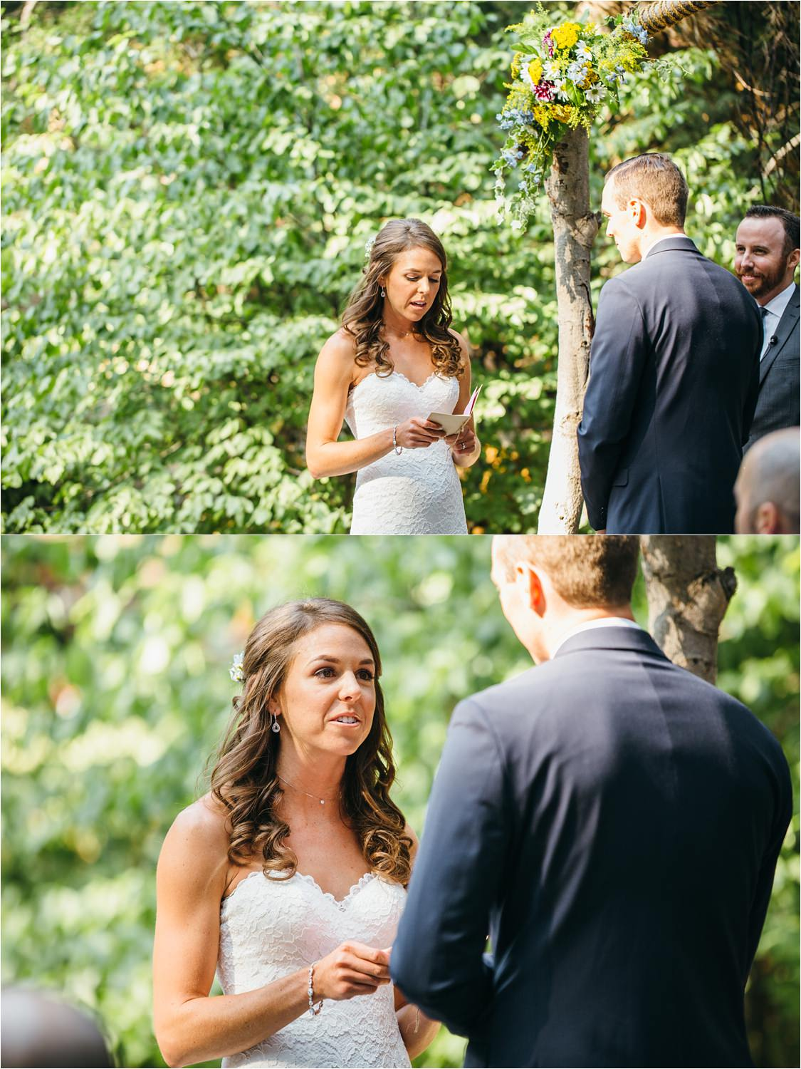 Bride reading Vows - I love you - Lake Arrowhead Wedding Photography - https://brittneyhannonphotography.com