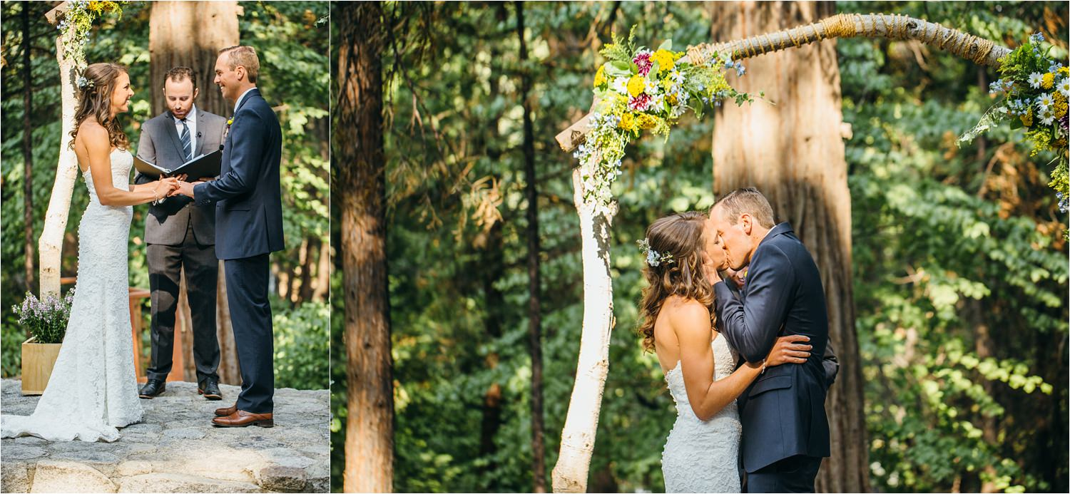 I now pronounce you husband and wife - first kiss - wedding ceremony in the mountains - intimate mountain wedding - https://brittneyhannonphotography.com