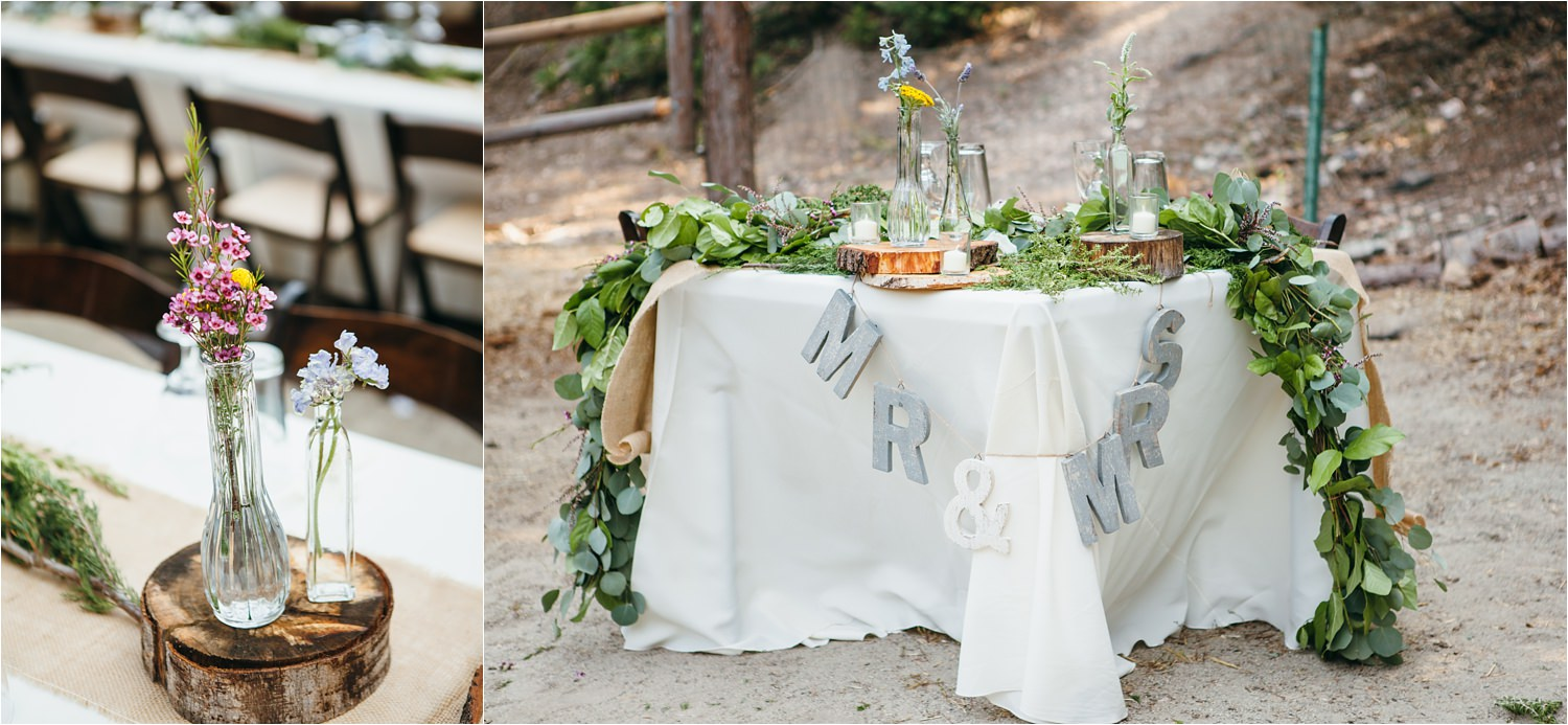 Sweetheart Table - Mountain Wedding Decor - Rustic Wedding Decor - DIY Wedding Details - https://brittneyhannonphotography.com