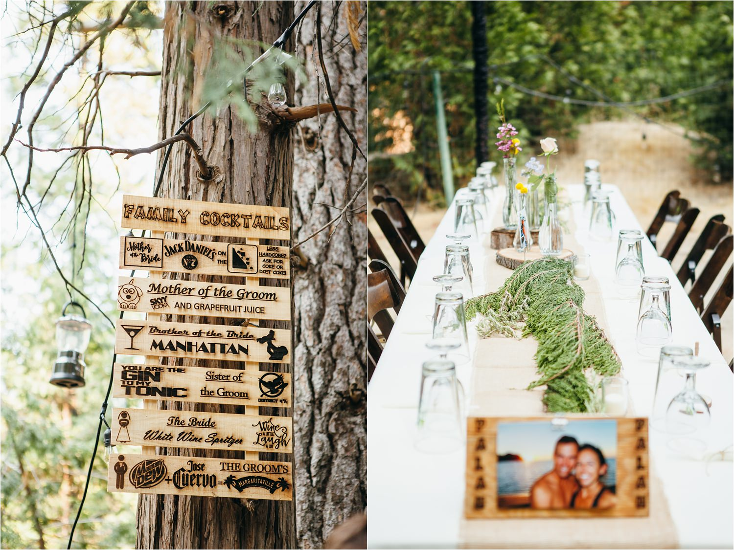DIY Rustic Wedding Details - Lake Arrowhead Summer Camp Wedding - Lake Arrowhead Mountain Wedding - https://brittneyhannonphotography.com