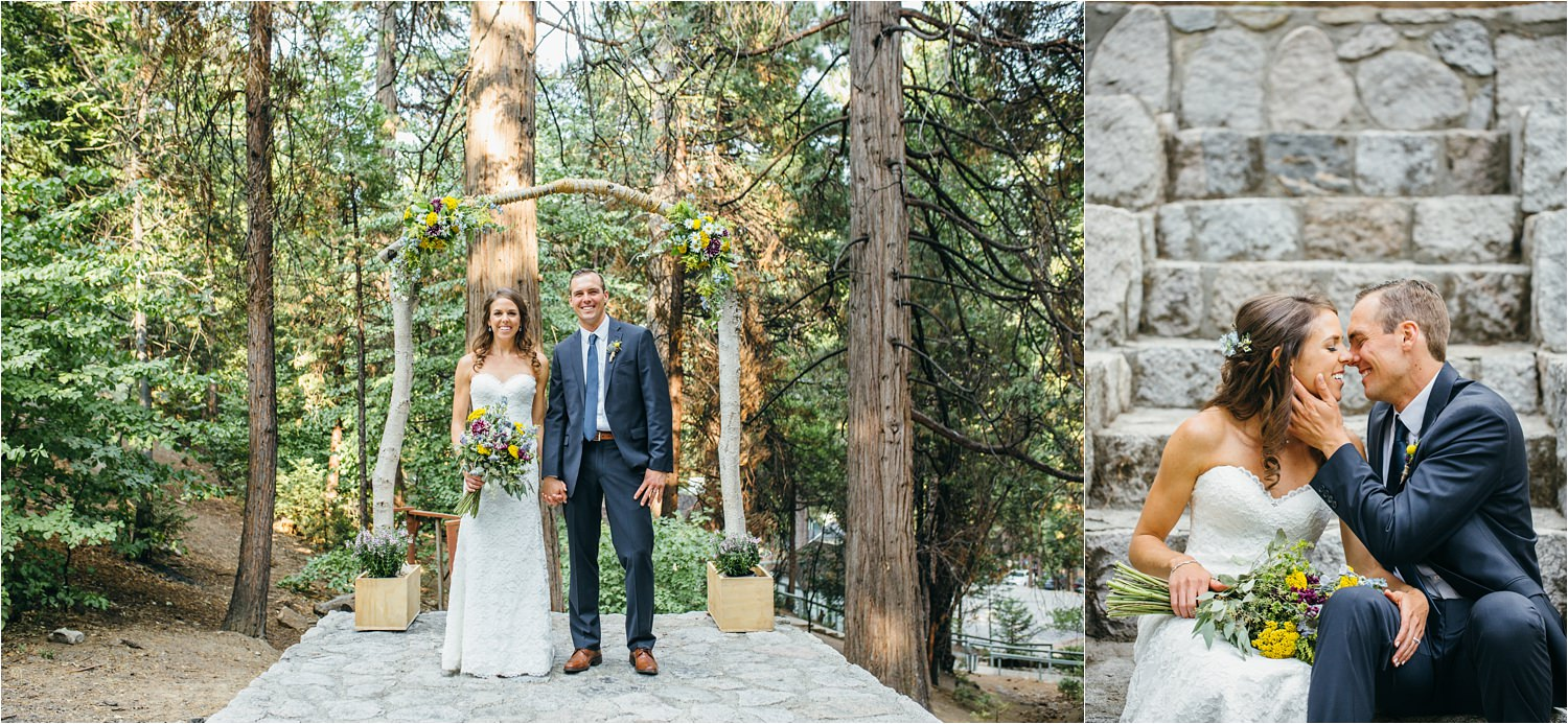 DIY Alter - Rustic Mountain Wedding - Bride and Groom Photos in Lake Arrowhead - https://brittneyhannonphotography.com