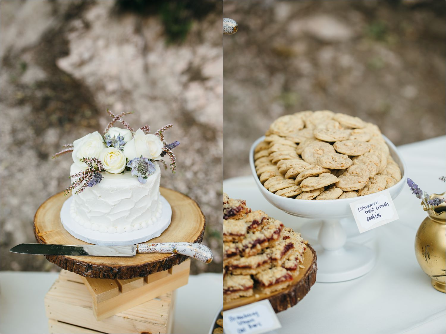 Dessert Table - Wedding Treats- Wedding Desserts - Rustic Wedding Cake in the Mountains - https://brittneyhannonphotography.com
