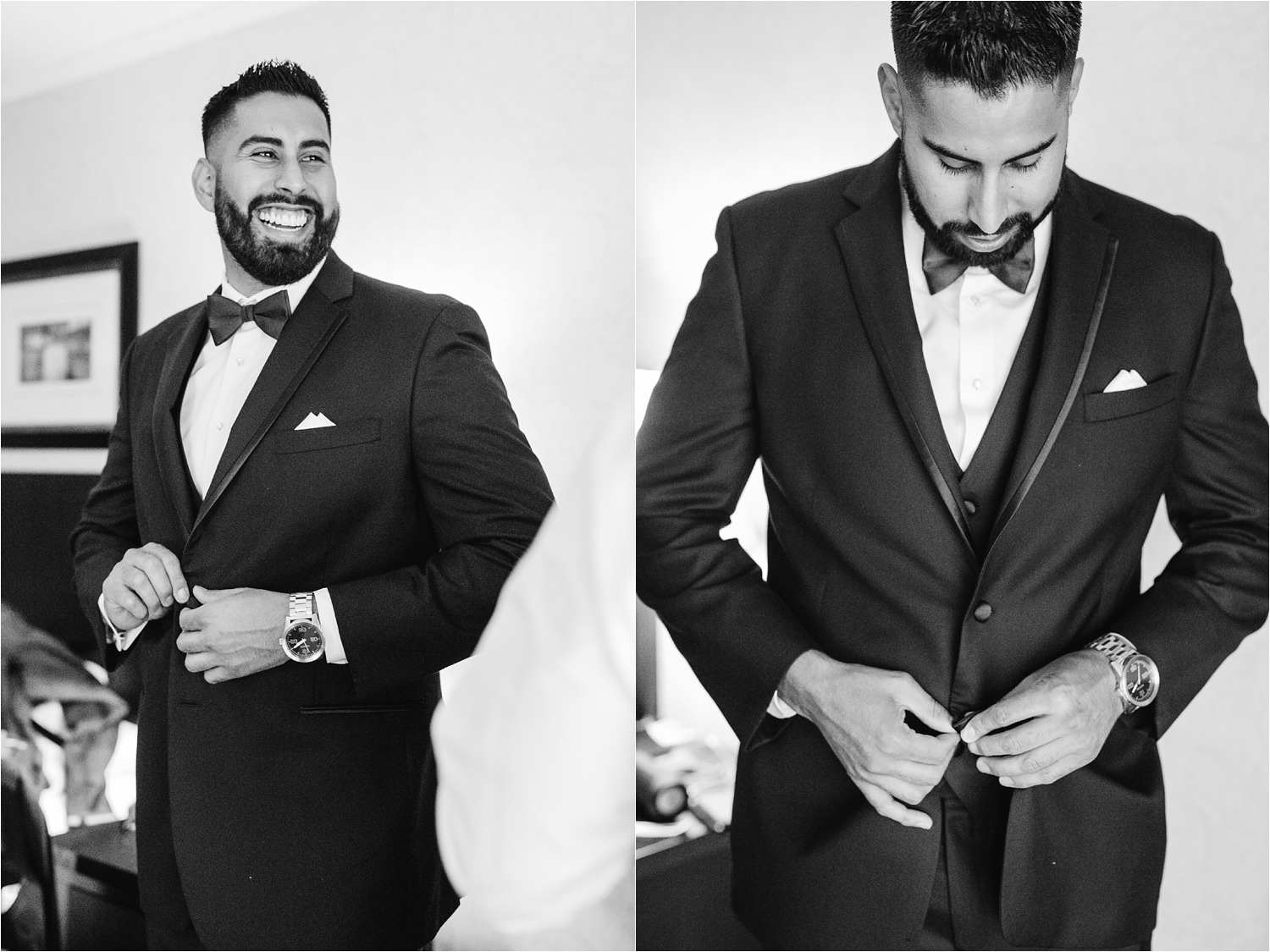 Black and White Groom Portrait - Groom Details - Groom getting ready photos - http://brittneyhannonphotography.com
