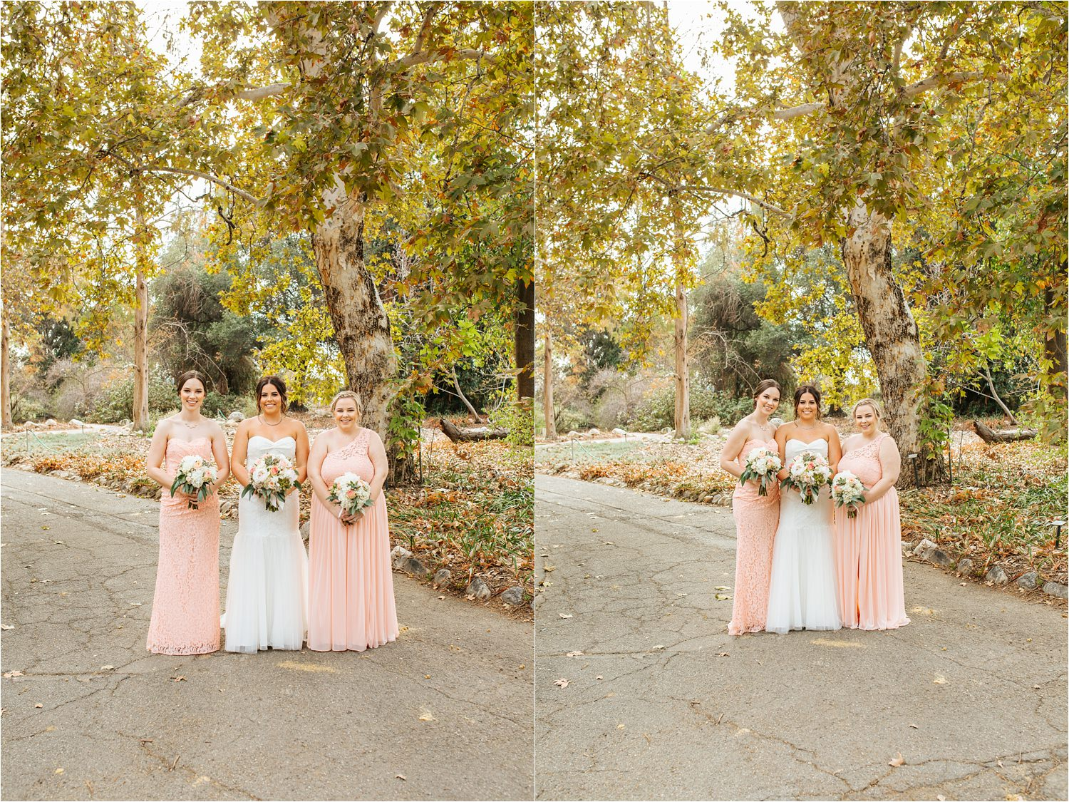 Fall Wedding Photos - Bride and Bridesmaids Photos in Claremont, CA - http://brittneyhannonphotography.com