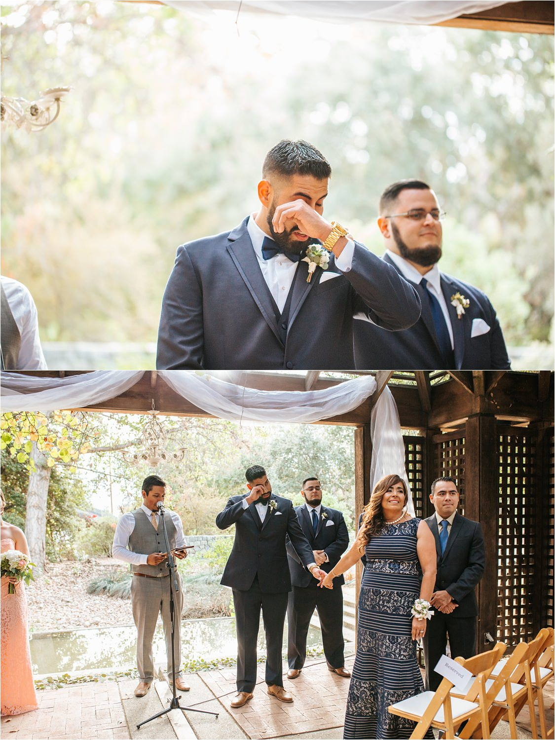 Groom seeing bride walking down the aisle - emotional groom - http://brittneyhannonphotography.com