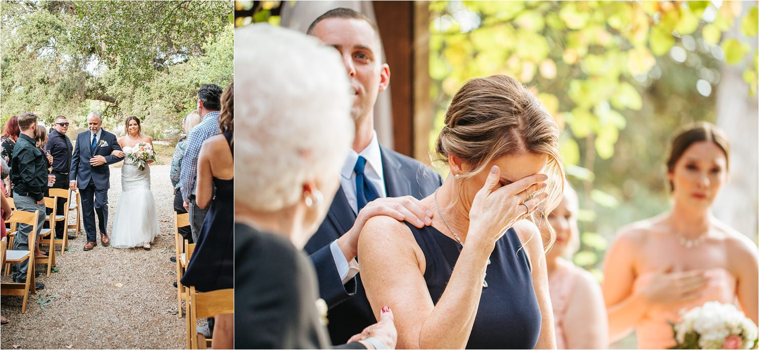 Mom cries when bride walks down aisle - bride walking down aisle to ceremony - http://brittneyhannonphotography.com