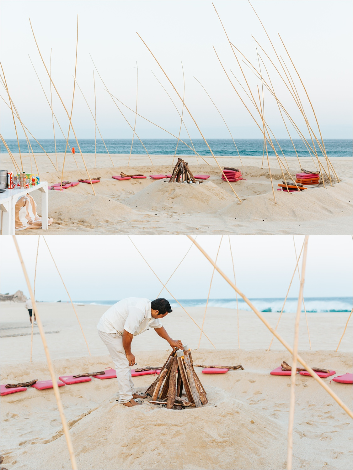 Bonfire on the beach in Cabo - https://brittneyhannonphotography.com