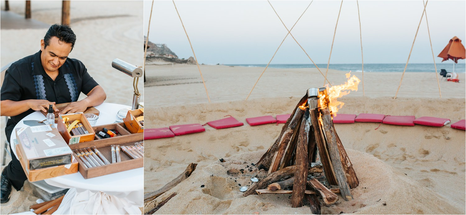 Wedding Bonfire in Cabo San Lucas on the beach - https://brittneyhannonphotography.com