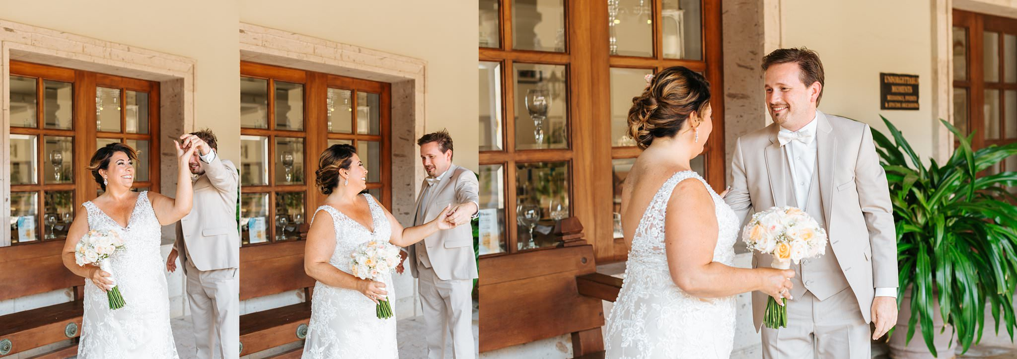 Groom sees bride for the first time - Cabo Destination Wedding - https://brittneyhannonphotography.com