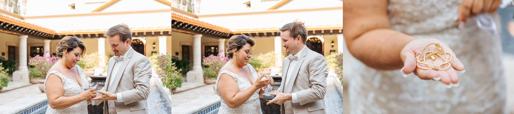 Bride opening gift from groom - Cabo Destination Wedding - https://brittneyhannonphotography.com