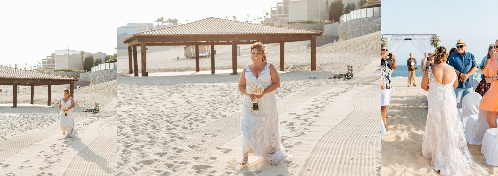 Bride walking down the aisle on the beach in Cabo - https://brittneyhannonphotography.com