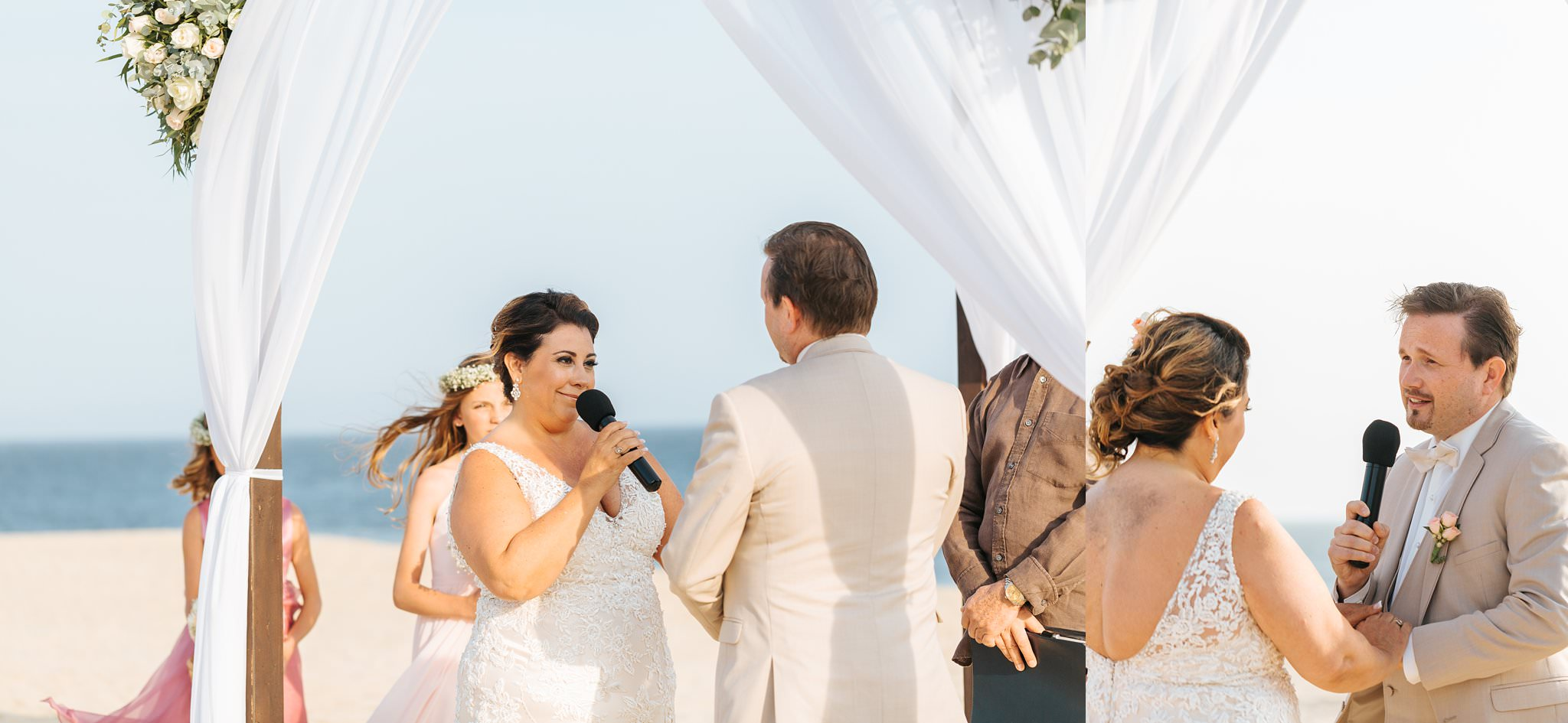 Beach Wedding - Couple says vows - https://brittneyhannonphotography.com