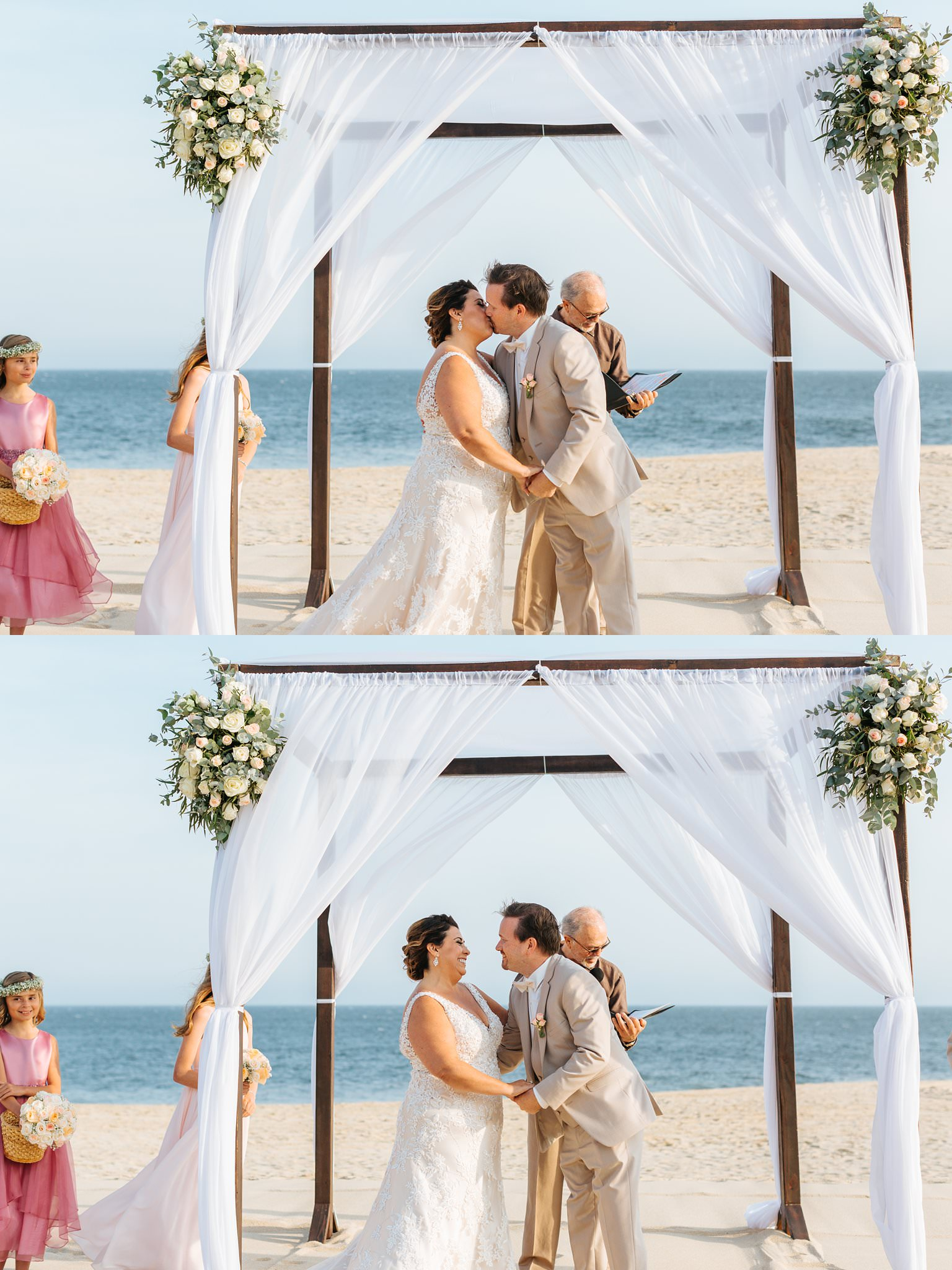 Husband and Wife - Wedding Ceremony on the beach in Cabo - https://brittneyhannonphotography.com