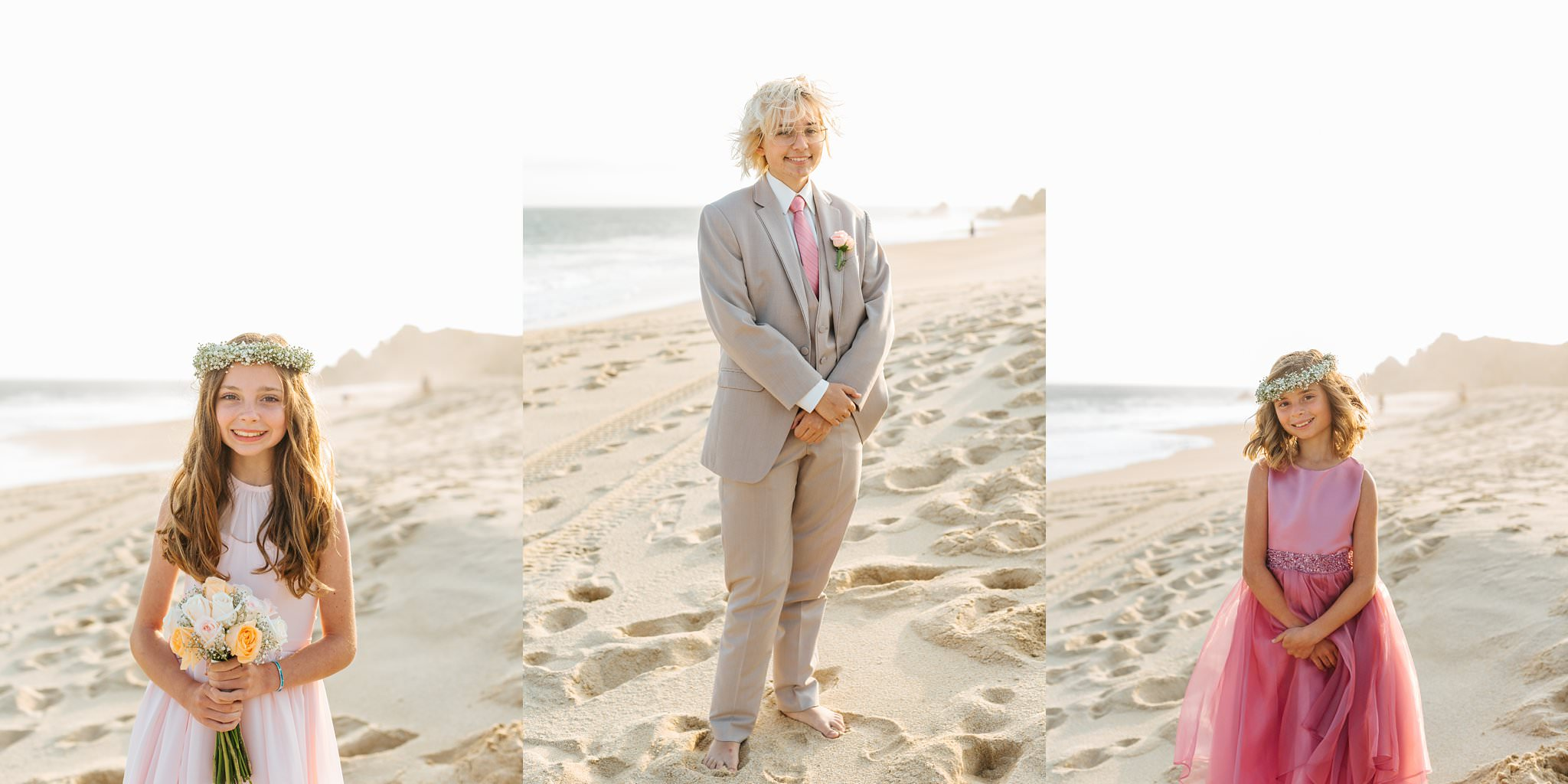 Bride's children - Bridesmaids and Groomsmen on the beach - https://brittneyhannonphotography.com