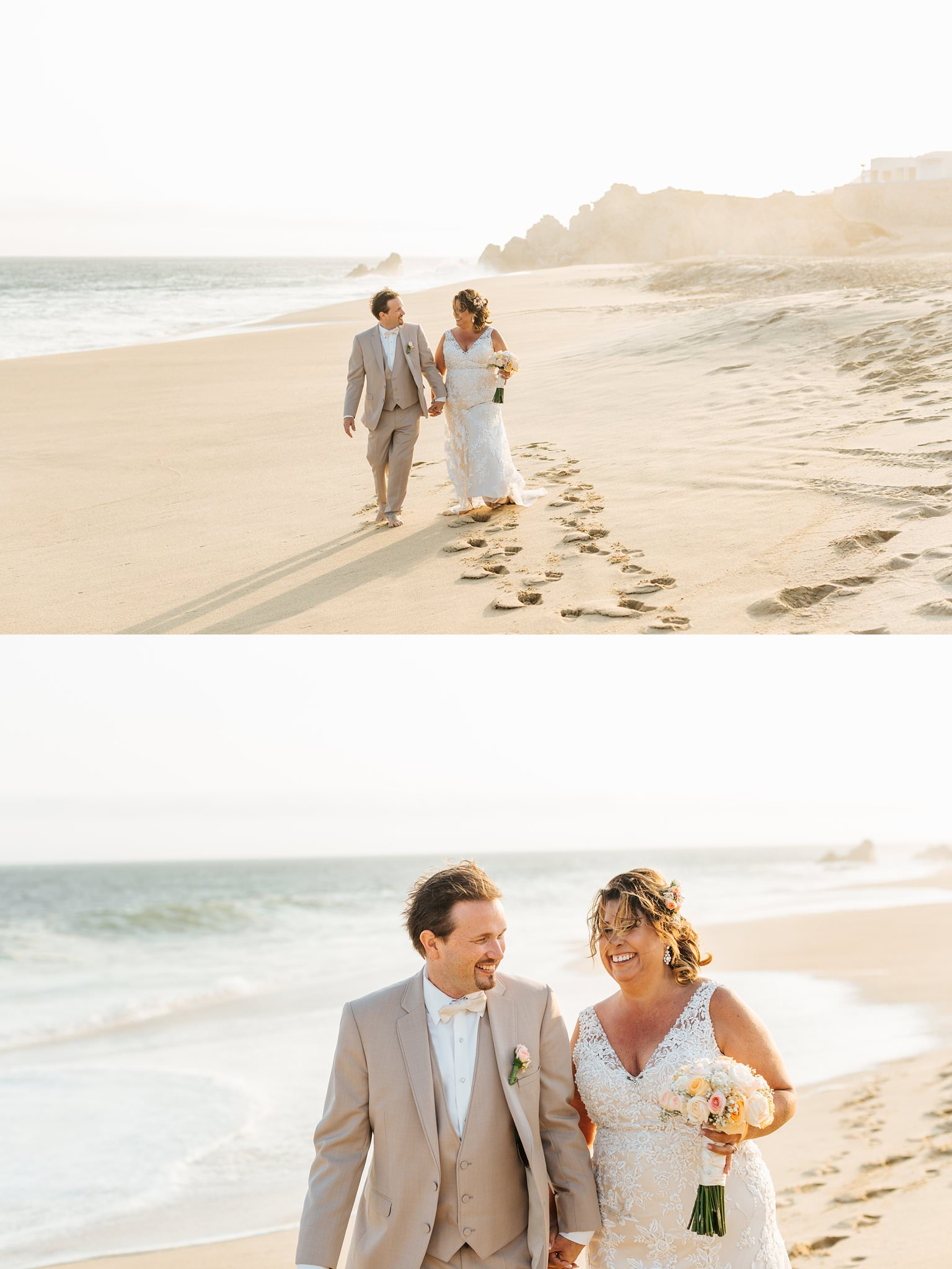 Bride and Groom on the beach in Mexico - Cabo San Lucas Destination Wedding - https://brittneyhannonphotography.com