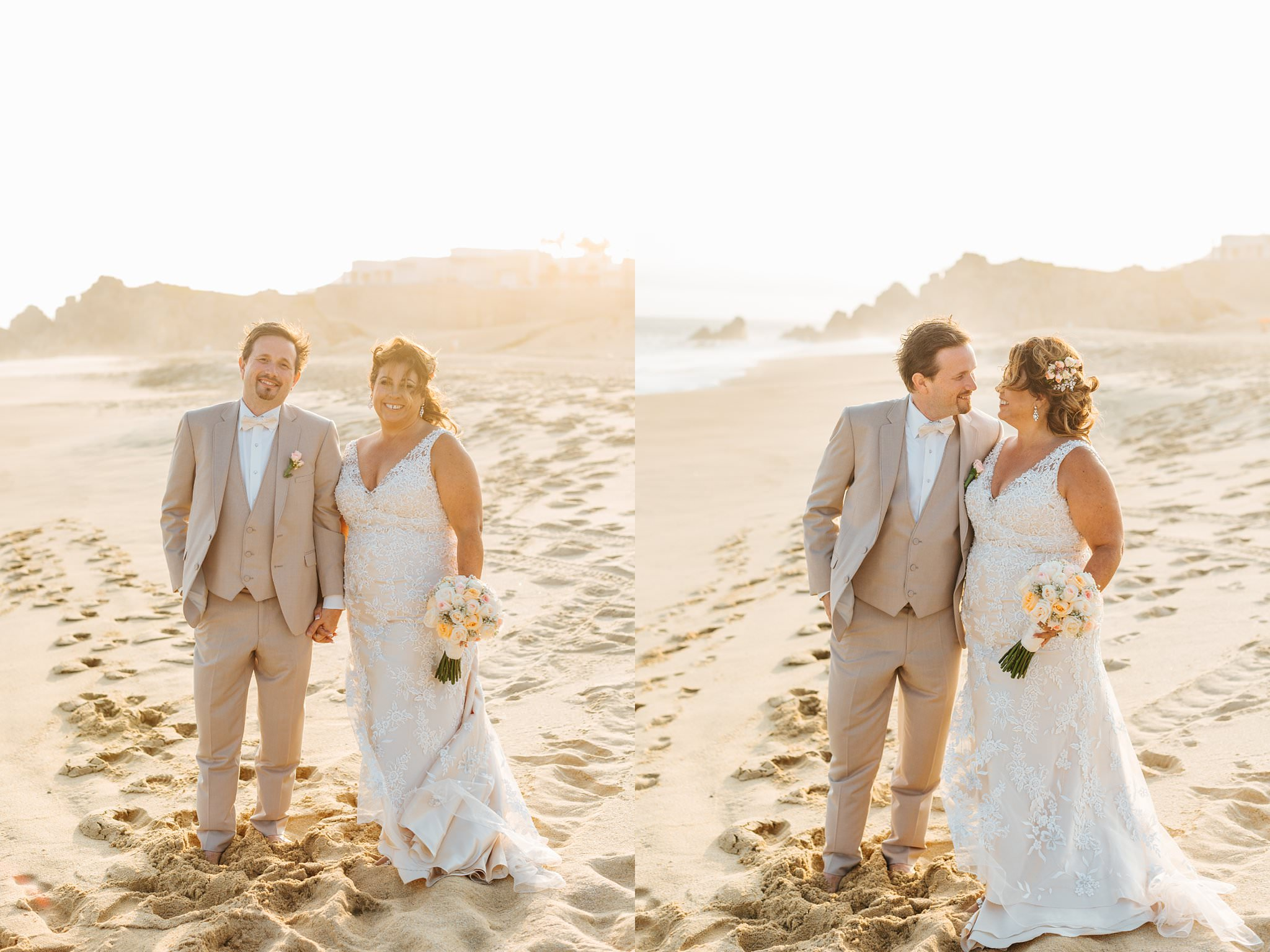Mexico Destination Wedding - Bride and Groom on the beach in Cabo - https://brittneyhannonphotography.com