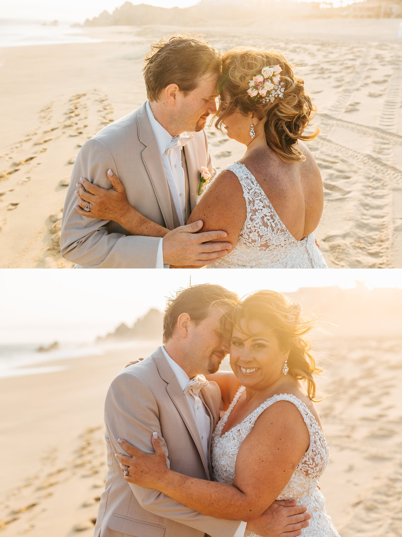 Warm sun kissed bride and groom photos on the beach in Cabo - Destination wedding photographer - https://brittneyhannonphotography.com