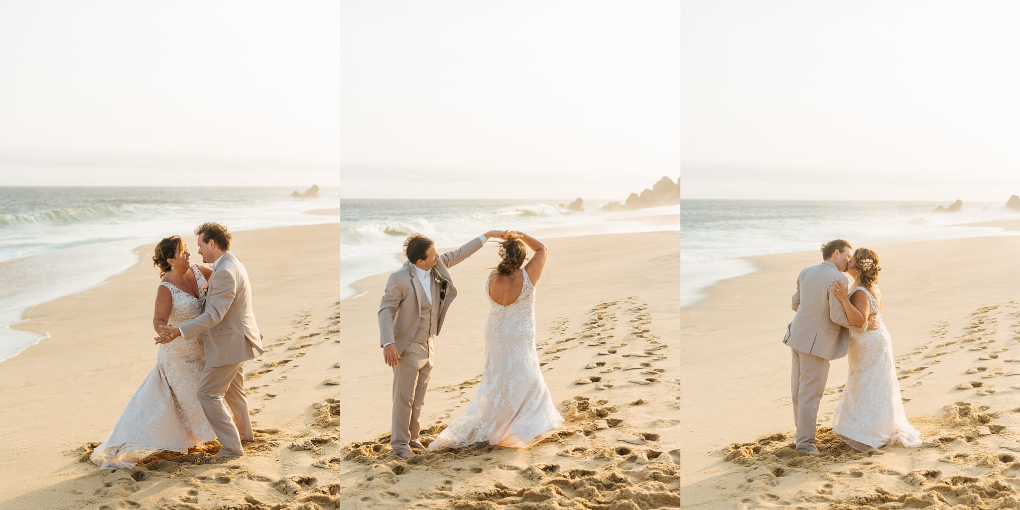 Bride and Groom dance on the beach in Cabo - Mexico Destination Wedding - https://brittneyhannonphotography.com