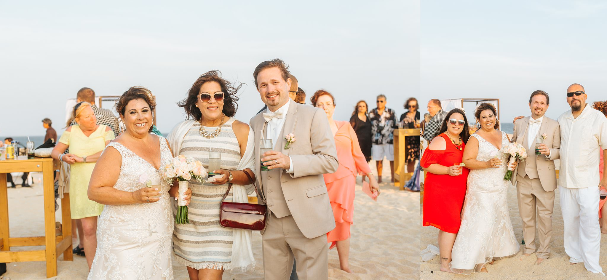 Bride and Groom celebrate on the beach with guests during cocktail hour - https://brittneyhannonphotography.com