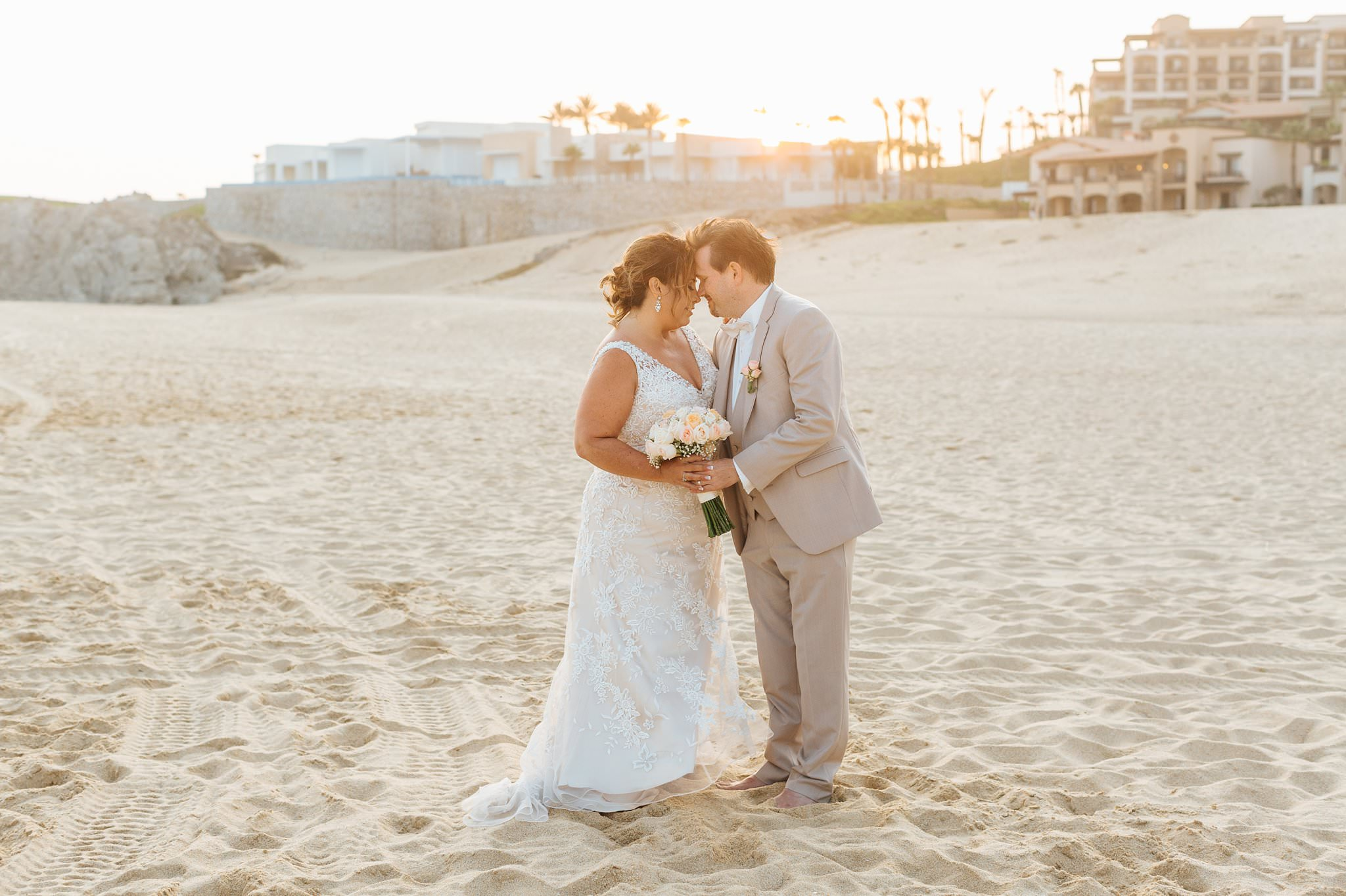 Sunset Beach Wedding Photos in Cabo, Mexico - Bride and Groom Destination Wedding - https://brittneyhannonphotography.com