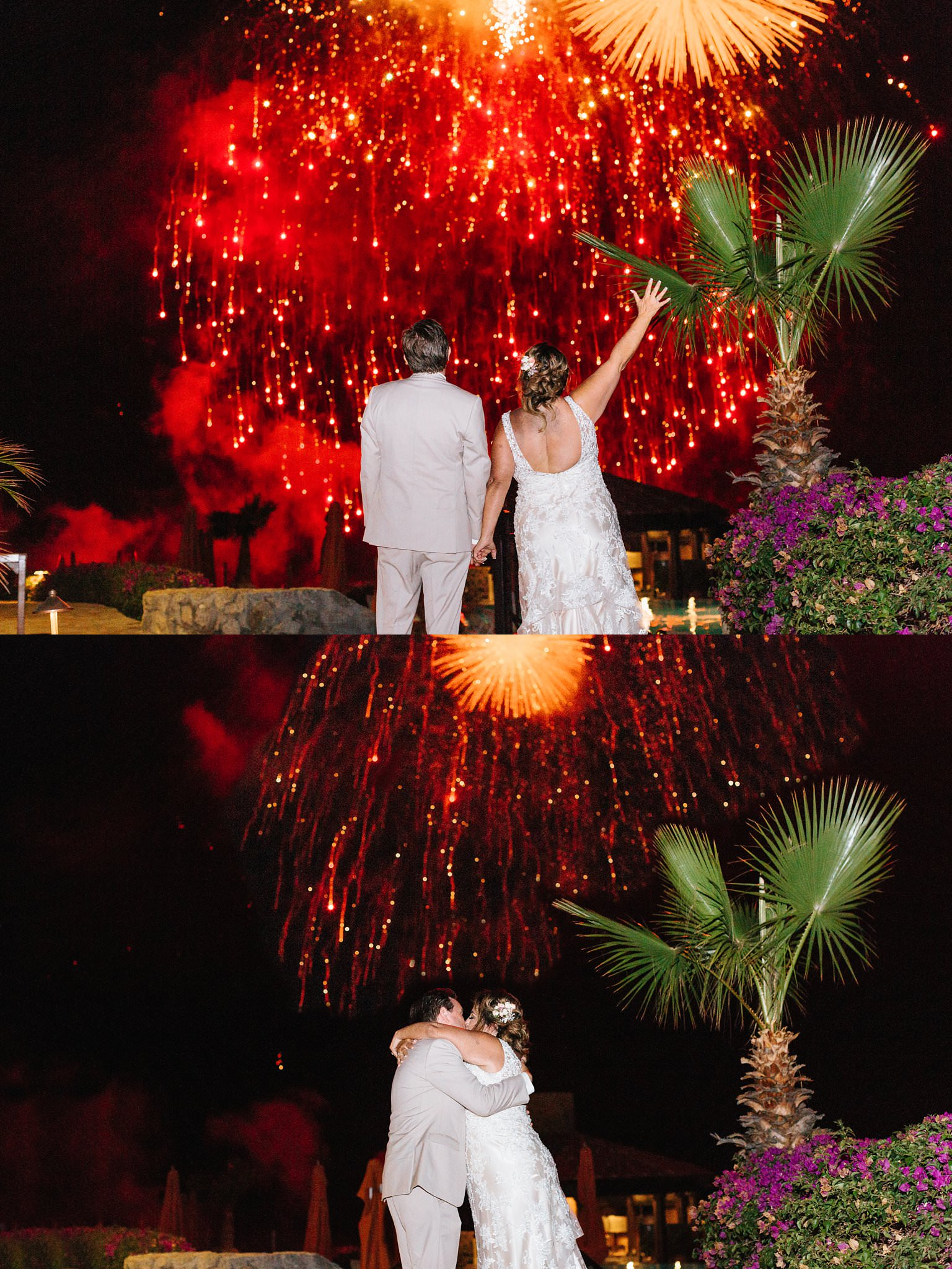 Fireworks at Wedding Reception - Beach Wedding in Cabo San Lucas Mexico - https://brittneyhannonphotography.com
