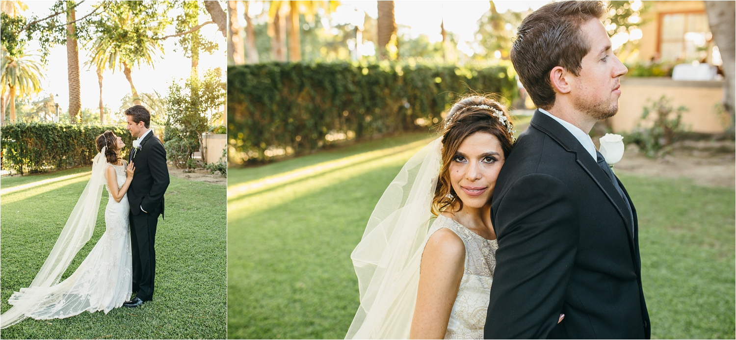 romantic bride and groom photos at castle green wedding in pasadena