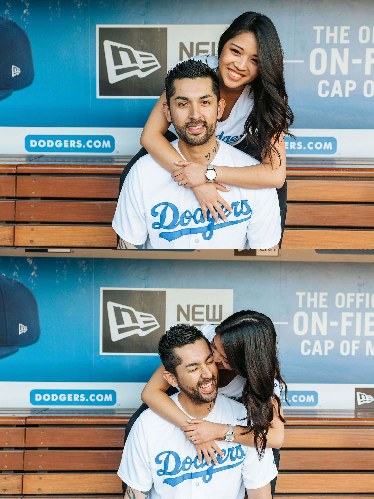 Fun Engagement Photos at Dodger Stadium - Los Angeles, CA - http://brittneyhannonphotography.com
