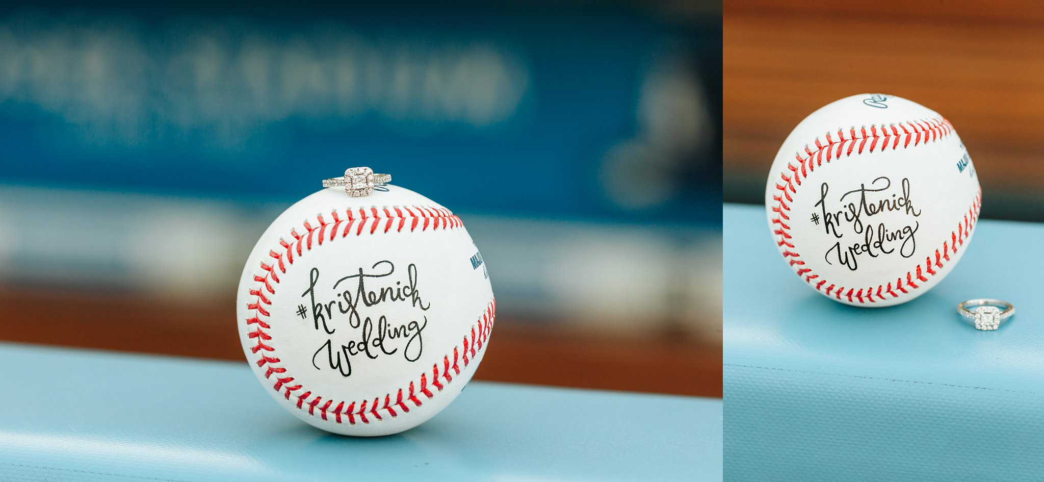 Engagement Ring and Baseball at Dodger Stadium - LA - http://brittneyhannonphotography.com